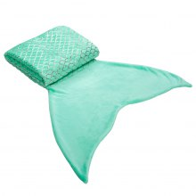 LANGRIA Flannel Mermaid Tail Blanket with Golden Scales, Green