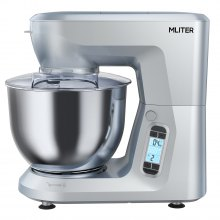 Mliter 1500W Electric Food Stand Mixer with 6.0L Bowl, Dough Hook, Whisk, Dough Hook, Splash Guard, Digital Touch Panel, 5-Speed, Time Setting, Silver