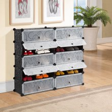 LANGRIA 10-Cube DIY Modular Shoe Rack, Black and White Curly