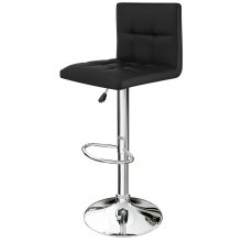 LANGRIA Set of 2 Gas Lift Quilted Bar Stools, Black