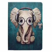Case for iPad 2017 / Air / Air2 Card Holder with Stand Flip Pattern Full Body Elephant Hard PU Leather