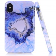 Perfect Fitted Beautiful Flower TPU Marble Grains Case for iPhone X