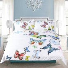 Flying Butterflies Bedding Duvet Cover Set Digital Print 3pcs