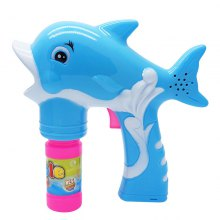 Dolphin Bubble Gun Blower Blaster with Flashing LED Lights Music 2 Refill