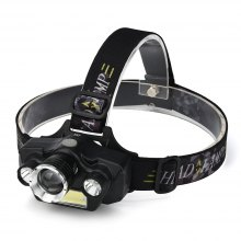 HKV Outdoor Waterproof Headlamps COB LED Headlight Zoomable Tactical Lamp