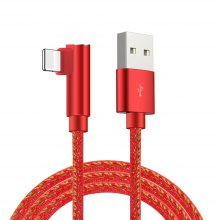 90 Degree Fabric Braided 8 Pin USB Cable for iPhone