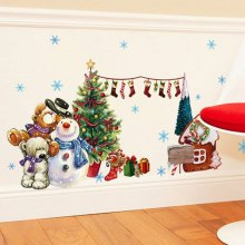 The New products gadgets Year Christmas Tree Snow Window Glass Showcase Decorative Wall Stickers