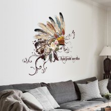 Removable New products gadgets Creative Pretty Feather Hat Bedroom Living Room Decor Wall Sticker