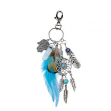 Bohemian Feathered Opal Alloy Key Ring