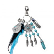 Popular Natural Turquoise Alloy Leaves Dreamcatcher Key Chain