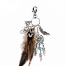 Fashion Natural Crystal Feather Alloy with Dreamcatcher Key Chain