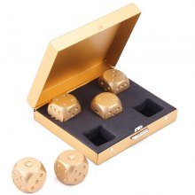 Aluminium Alloy Solid Dominoes Metal Game Portable Dice 5pcs